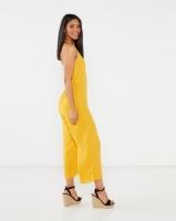 Legit Halter Button Thru Culotte Jumpsuit Mustard Photo
