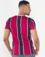 Brave Soul Vertical Stripe T-Shirt Navy/Red Photo