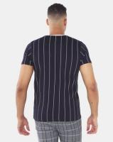 Brave Soul Fine Vertical Stripe T-Shirt Navy Photo