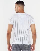 Brave Soul Fine Vertical Stripe T-Shirt White Photo