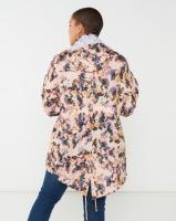 Brave Soul Plus Floral Print Hooded Mac Pink Photo