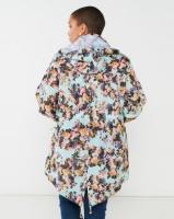Brave Soul Plus Floral Print Hooded Mac Mint Photo