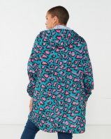 Brave Soul Plus Leopard Print Hooded Rain Mac Jade/Pink Photo