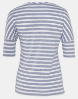 Cherry Melon Stripe T-Shirt With Curved Hem Navy/White Photo
