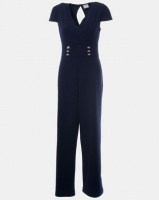 Contempo Waist Inset Button Jumpsuit Navy Photo