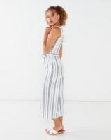 QUIZ Stripe Culotte Jumpsuit White and Navy Photo