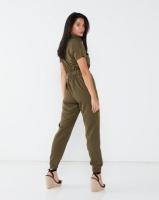 London Hub Fashion Zip Front Short Sleeve Belted Utility Jumpsuit Khaki Photo