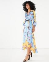 Liquorish Mixed Print Floral Kimono Midi Dress Blue Multi Photo