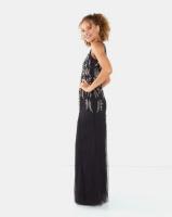 City Goddess London Embellished Open Back Maxi Dress Black Pearl Photo
