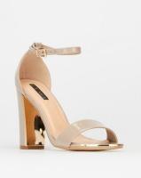 Legit Gold Toe Cap & Heel Insert Block Heel Taupe Photo