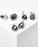 Queenspark 3 Pack Drop Earring With Clear Charcoal Silver Photo