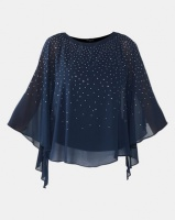 Queenspark Floaty Glam Woven Blouse Navy Photo