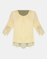 Miss Cassidy By Queenspark Bewitched Lace Trim Woven Top Yellow Photo