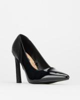 Legit Multi-Fabric Pointy Court W Shaped Heel Black Photo