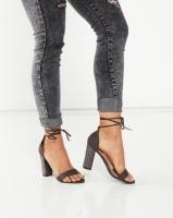 Legit S19 Embellished Block Heel Lace Up Sandals Charcoal Photo