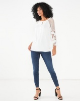 Miss Cassidy By Queenspark Lace & Woven Combination Woven Shirt White Photo
