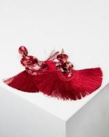 Queenspark Resin and Tassel Earrings Red Photo