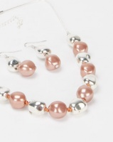 Queenspark 2PK Rose Gold and Silver Stones with Earrings Set Pink Photo