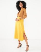 Closet London 3/4 Sleeve Wrap Slit Dress Mustard Photo