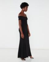 QUIZ Bardot Fishtail Maxi Dress Black Photo