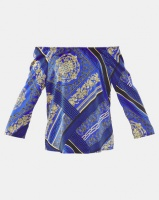 cathnic By Queenspark cath.nic By Queenspark Chain Printed Kimono Woven Top Cobalt Photo