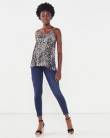 Miss Cassidy By Queenspark Printed Lace Woven Camisole Multi Animal Print Photo
