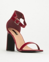 Legit S19 Flat Square Heels with Banded Mule Red Photo