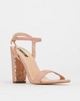 Legit S19 Sequins Detail Block Heel Sandals Blush Photo