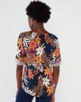 Queenspark Floral Printed Woven Blouse Navy Photo