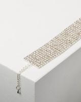 Adoria Silver Wide Diamante Encrusted Bracelet Photo