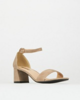 Legit S19 Flared Low Block Heels with Closed Quarter Taupe Photo