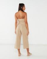 Legit Stripe Peep Linen Jumpsuit White/Beige Photo