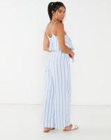 Legit Waisted Stripe Frill Jumpsuit White/Blue Photo