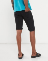 Beaver Canoe Swagga 5 Pocket Turn Up Vein Denim Shorts Black Photo