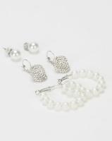 Queenspark Pearl & Diamante 3 Pack Earrings White Photo