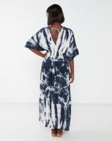 Allegoria Tie Dye Print Kaftan White & Blue Photo