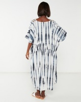 Allegoria Tie Dye Print With Embroidery Dress Blue Photo