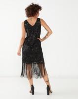 cath.nic By Queenspark 20'S Shift Tassel Detail Knit Dress Black Photo