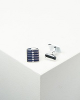 Xcalibur Cufflinks with Blue Stripes Silver Steel Photo