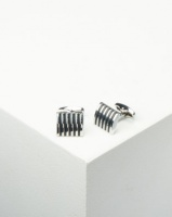 Xcalibur Cufflinks with Black Stripes Silver Steel Photo