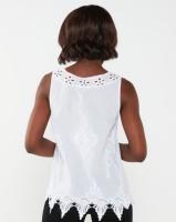 Queenspark Special Cami Cutout Woven Sleeveless Blouse White Photo