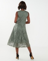 Queenspark Stretch Lace Fit And Flare Knit Dress Sage Photo