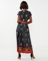 Miss Cassidy By Queenspark Chain Print Woven Dress Navy Photo