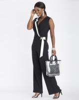 Contempo Wrap Contrast Jumpsuit Black Photo