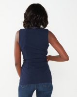 Sissy Boy Girl Boss Sleeveless Blazer With Bling Trim Detail Navy Photo