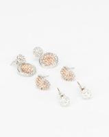 Queenspark Glitter Ball & Huggie Earrings Silver-tone Photo