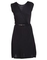 Assuili Cross-Over Belted Dress Black Photo