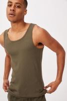 Cotton On Men - 2X2 Rib Tank - Military Photo