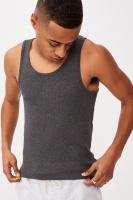 Cotton On Men - 2X2 Rib Tank - Charcoal marle Photo