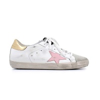 Golden Goose Women's Sneakers Superstar White-Gold Pink Star G32WS590.E76 Photo